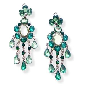 CHANDELIER Green Rhinestone Earrings